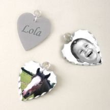Photo Charm with Engraving - Heart
